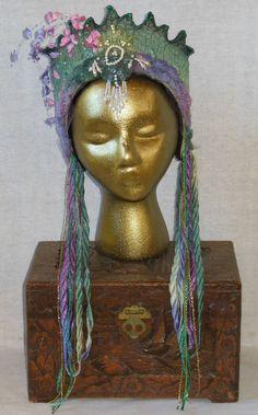 Green & Purple Whimsical fairy Renaissance faire Queen Princess Nymph woodland headpiece belly dance headdress crown tiara wreath hat.