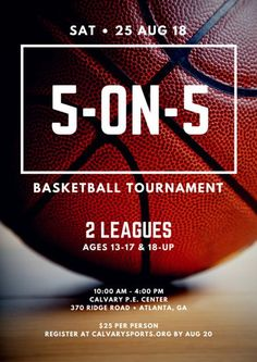 5-on-5 Basketball Tournament Poster