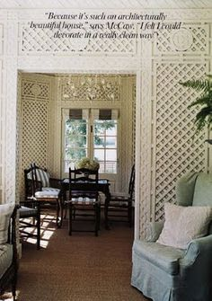 Mitchell Cottage, Maine.  Built in 1916.  This photo was published in the first issue of Vogue Living in 2006.  The trellis walls are the pièce de résistance of the house and were originally restored by Sister Parish.
