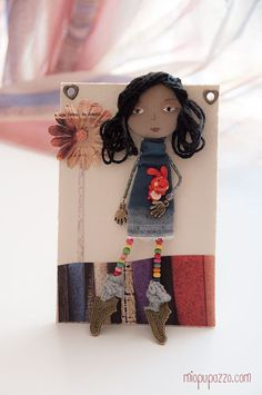 Art Doll Brooch Long Hair Brunette Girl mixed media by miopupazzo, $27.00