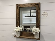 Mirror with 5 Deep Shelf Bathroom Mirror Entryway Mirror Large Small Wood Framed Mirror Wall Mirror Mirror with Brackets Farmhouse Bathroom Mirror With Shelf, Entryway Mirror, Wood Framed Mirror, Bathroom Sets, Mirror Mirror, Master Bathroom, Bathrooms, Farmhouse Mirrors, Farmhouse Decor