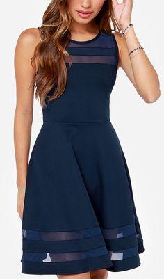 Final Stretch Navy Blue Dress