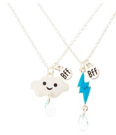 A set of cloud and thunderbolt pendants. | 27 Tokens Of Friendship You Need To Buy For Your BFF Right Now