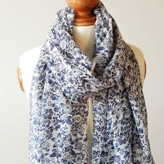 White And Navy Flower Print Scarf