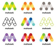 Mohawk identity designed by Pentagram partner Michael Bierut and associate partner Joe Marianek. Corporate Identity, Visual Identity, Corporate Design, Brand Identity Design, Branding Design, Type Logo, Inspiration Logo Design, Design Ideas, Dynamic Logo