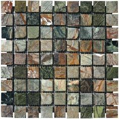 MS International Verde Amazonia 12 in. x 12 in. x 10 mm Tumbled Marble Mesh-Mounted Mosaic Tile (10 sq. ft. / case)-SMOT-RAIN-1X1-T - The Home Depot