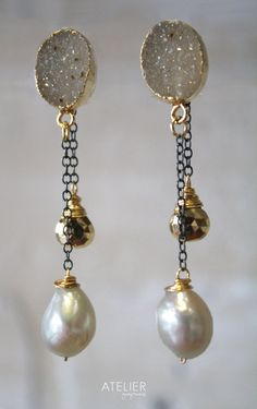 Drusy Barroque Pearl and Pyrite Studs by ATELIERGabyMarcos on Etsy, $105.00