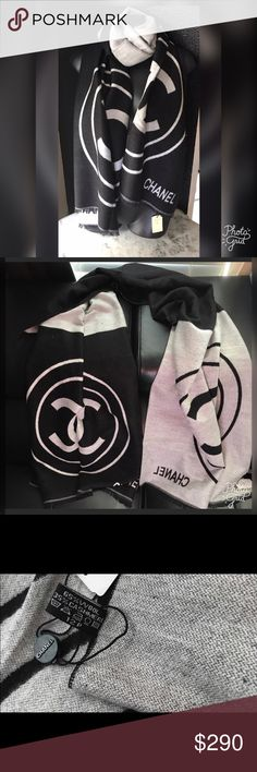 """Chanel Logo Black and Gray Wool/Cashmere Scarf Keep warm in style this winter with this amazing Chanel Logo Scarf!  Dimensions- 26"""" W x 72"""" L CHANEL Accessories Scarves & Wraps"""