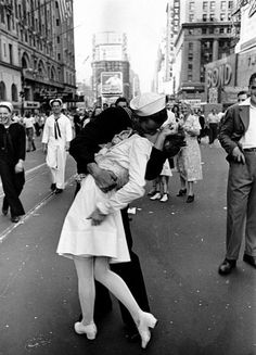 This photograph was taken on August 14, 1945, it was on V-J Day in Times Square. The photograph was then published in Life magazine a week later along with three other kissing poses from celebrations in other cities.