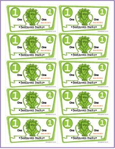 Beethoven Bucks | Free Printable Music Student Incentive Packet