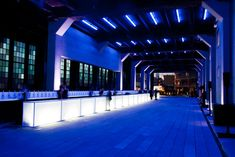 In honor of the opening of High Line Park, Friends of the High Line hosted a benefit in New York in 2009. At the after-party, held in a covered portion of the High Line, an illuminated bar decorated the main event space.  Photo: Roger Dong for BizBash