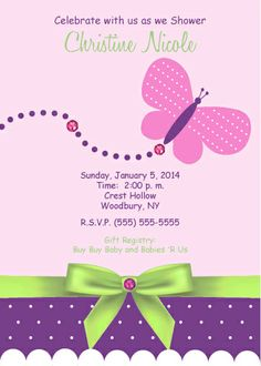 baby girl butterfly baby shower invitation | baby shower, Baby shower invitations