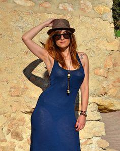 Vestido azul marino largo para el verano