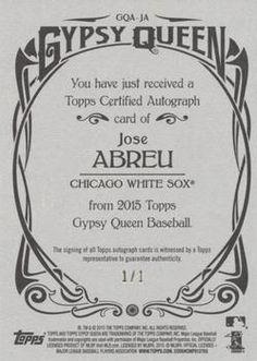 2015 Topps Gypsy Queen - Autographs Black #GQA-JA Jose Abreu Back