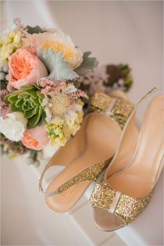 Gold glitter shoes with cute ribbon for the bride