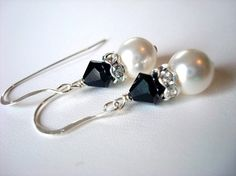White Swarovski Pearl Bridal Earrings with Jet by AFinishingTouch, $14.00