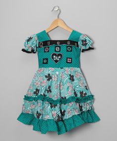 Teal Swirl Flower Babydoll Dress - by Roberto Toscani on #zulily today!