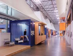 2019 Legend: Clive Wilkinson Architects // Pallotta Teamworks office space using shipping containers Small Office Design, Tiny Office, Cool Office Space, Office Spaces, Office Designs, Work Spaces, Office Cubicles, Architecture Office, Architecture Design