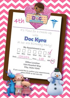 $10 - Doc McStuffins Time for a Check-Up Birthday Ivitation.