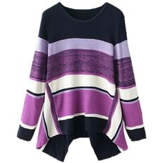 Purple Sexy Ladies Color Block Stripe Oversized Pullover Sweater ($38) ❤ liked on Polyvore featuring tops, sweaters, purple, pullover tops, purple sweater, purple top, oversized pullover and purple pullover sweater