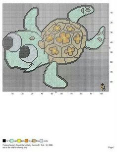 FINDING NEMO'S SQUIRT THE SEA TURTLE by CECILIA R. -- WALL HANGING