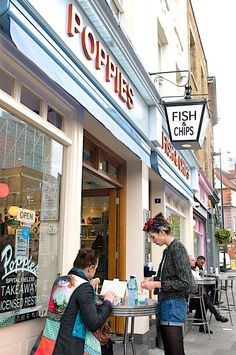 Poppies Fish and Chip shop at 6-8 Hanbury Street, Spitalfields, London, England.  The best fish and chips ever.