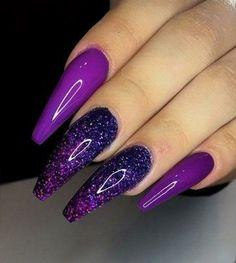 Coffin Shape Nails, Coffin Nails Long, Long Nails, Purple Nail Designs, Acrylic Nail Designs, Nail Art Designs, Nails Design, Fabulous Nails, Gorgeous Nails