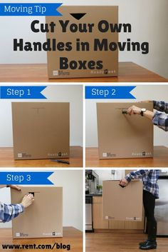 The 14 Most Legit Packing Tips , Moving Tip: Cut your own handles in moving boxes to make lifting them easier! This simple packing tip is easy to do, and so helpful. Check out the rest of our packing tips to ease the stress of moving. Moving Home, Moving Day, Moving Tips, Moving Hacks, Organizing For A Move, Organizing Tips, Packing To Move, Packing Boxes For Moving, Packing Tricks