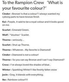 The Rampion Crew, #tlc | text posts | what is your favorite colour?