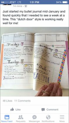 """""""Dutch Door"""" for your bullet journal; still see the week even if you spill over beyond the spread"""