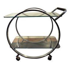 love this Bauhaus Modernist chrome bar cart