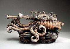 "steampunktendencies: ""Grafton Pottery  #steampunktendencies #steampunk #art #pottery #ceramics #tank #tentacles "" Cool !"