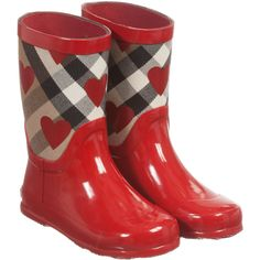 Girls Red Wellies with Check & Hearts, Burberry, Girl