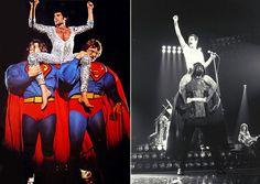 Freddie Mercury riding on the shoulders of Superman