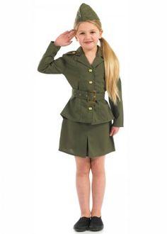 Kids Size 1940's WW2 Army Girl Costume