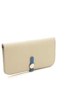Gris Perle & Blue Mykonos Togo Leather Dogon Wallet by Heritage Auctions Special Collections for Preorder on Moda Operandi