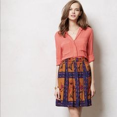"""Anthropologie Persicum Skirt XS NWT New with Tags - SOLD OUT  Anthropologie Persicum Skirt Retail $128 Style No. 28255776 Color: Blue Motif Sizes: X-Small For Monday mornings and lazy days, we love silky skirts that look perfectly polished, yet slip on with nary a button or zip. Case in point: Maeve's sequined, poppy-printed pull-on. From Maeve Pull-on styling Front pockets Viscose; cotton lining Machine wash Regular: 20""""L Imported Anthropologie Skirts"""