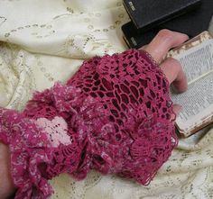 Raspberry Ruffle Fabric Cuff with Vintage Lace by rosiemoonbeams, $25.00