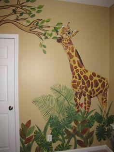 Giraffe in Jungle Room Kids Room Murals, Nursery Wall Murals, Bedroom Murals, Nursery Room, Jungle Bedroom, Kids Bedroom, Giraffe Room, Deco Jungle, Toy Rooms