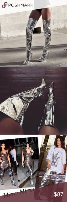 """Silver Metallic Thigh High Mirror Boots True to Size   Heel Height: 4"""" Cape Robbin Shoes Heeled Boots"""