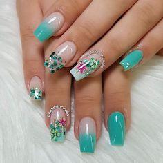 New gel nails designs for spring unique Ideas Aqua Nails, Blue Glitter Nails, Pink Nail Art, Beach Nail Designs, Nail Art Designs, Clear Gel Nails, Fire Nails, Summer Acrylic Nails, Nail Decorations