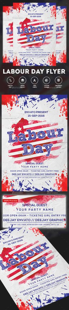 Labor Day Weekend Party Flyer Party flyer, Flyer template and - labour day flyer template