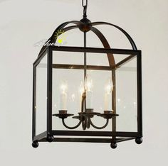 Amtique Square Iron and Clear Glass Shape pendant Lighting contemporary-pendant-lighting 15 x 22 high $350 option for island pendants, may be too big