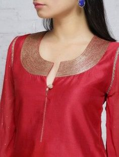 Red Zari Embroidered Chanderi Georgette Kurta Neck Designs For Suits, Neckline Designs, Dress Neck Designs, Blouse Designs, Salwar Pattern, Kurta Patterns, Churidar Designs, Kurta Designs Women, Kurta Neck Design