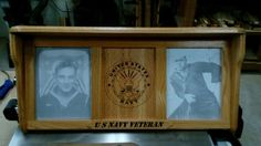 US Navy Vet Shelf with 2 picture frames on each side, this is just many Military shelves we have made over the years