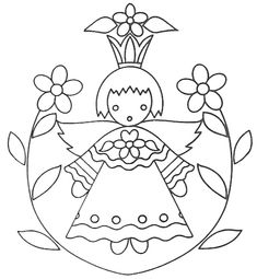 vintage embroidery pattern- alter to include butterfly in place of girl.maybe even mix and match diff. butterflies, change flowers too. use inside scallop edges. Folk Embroidery, Embroidery Patterns Free, Learn Embroidery, Vintage Embroidery, Cross Stitch Embroidery, Cross Stitch Patterns, Embroidery Designs, Flower Embroidery, Pintura Country