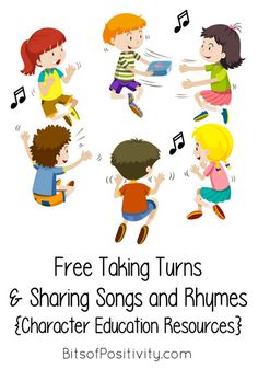 Lots of free videos with songs about taking turns and sharing for young children; post includes Montessori resources for ideas on taking turns and sharing