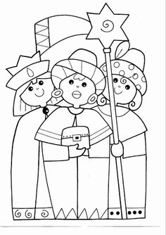 Reyes Magos/Three Wise Kings, would make great embroidery pattern Nativity Crafts, Christmas Nativity, Kids Christmas, School Coloring Pages, Colouring Pages, Coloring Books, Childrens Christmas Crafts, Christmas Activities For Kids, Advent