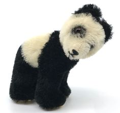 Steiff #Panda Bear Mohair Plush 12cm 5in on all fours 1955 -58 Glass Eyes no ID #Steiff AllOccasion