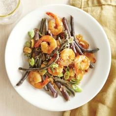Shrimp with Ginger-Garlic Red Noodle Beans | CookingLight.com #myplate  #protein #veggies